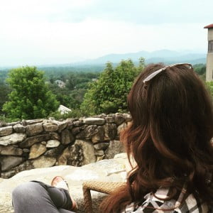 One of our Swan Girls enjoying breakfast with a view in Asheville, NC