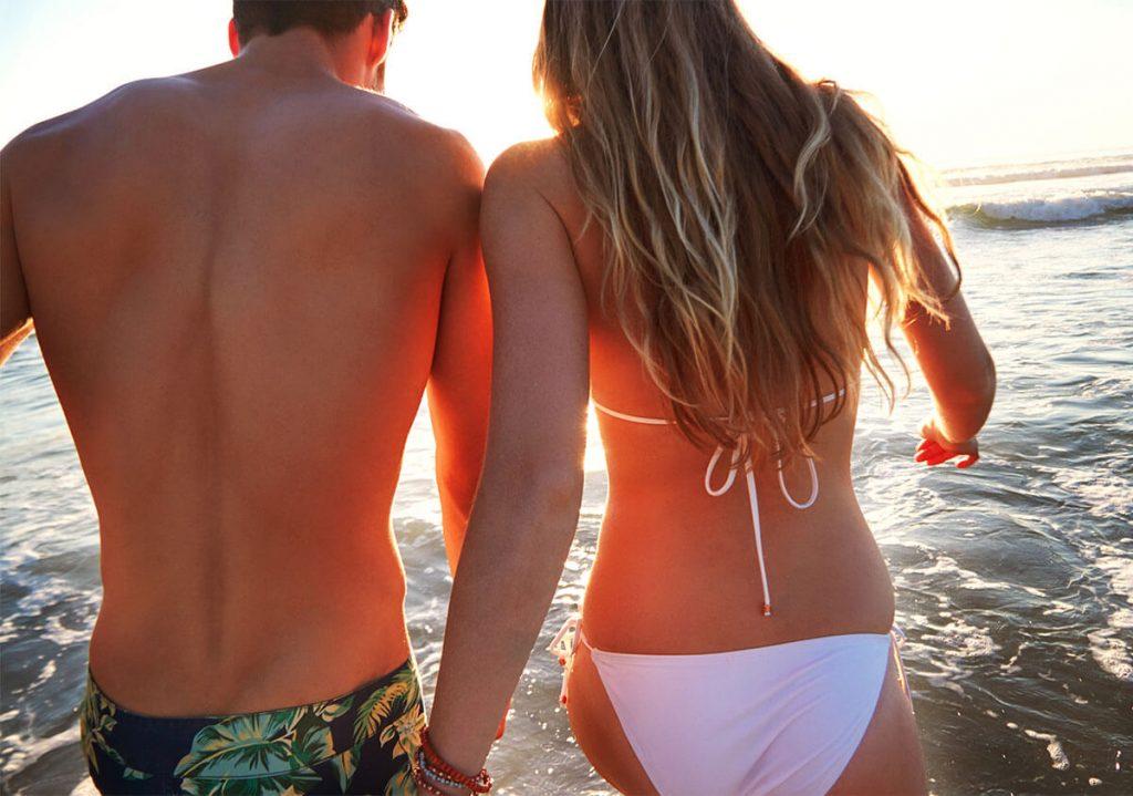 Couple heading to the beach
